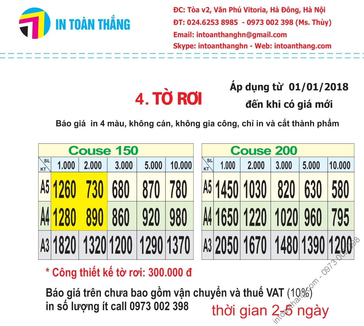 báo giá in tờ rơi, in tờ rơi, bao gia in to roi, in to roi