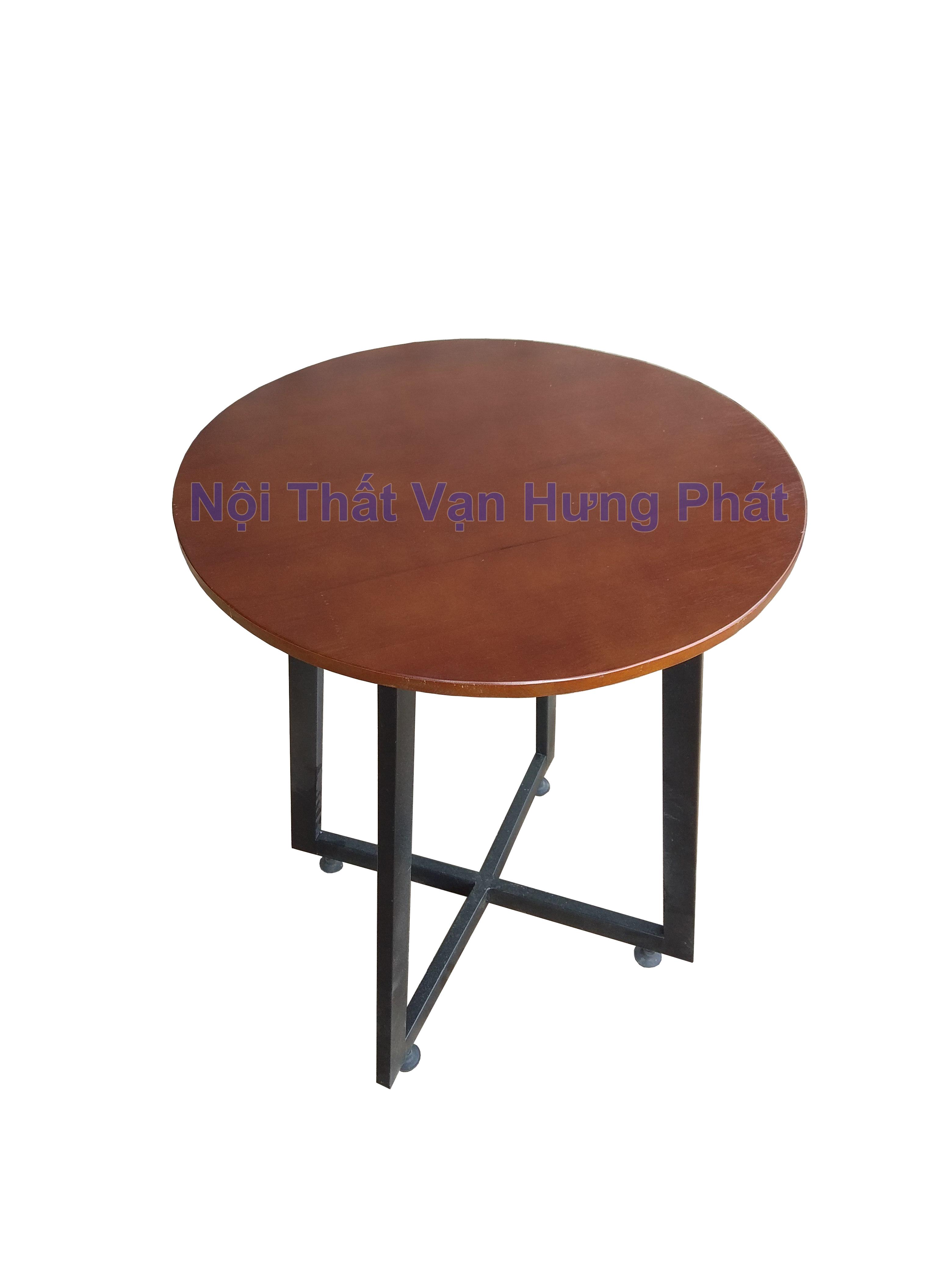 bàn cafe khung sắt mặt gỗ 1