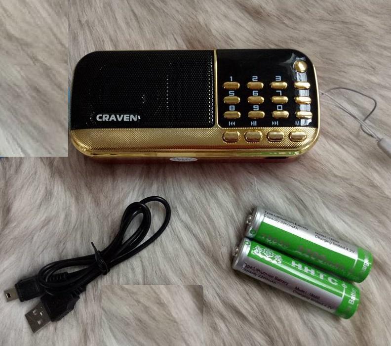 Loa nghe nhạc, Pháp CR836S - 2 Pin - đèn pin - tặng kèm cóc sạc